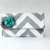 Chevron Clutch Set, Gray and White with Teal Flower