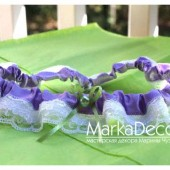 Wedding Garter with Lace in Lavender and White