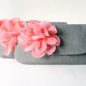 Bridesmaid Clutch Set, Gray and Coral Flower Brooch