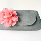 Coral and Gray Clutch Purse