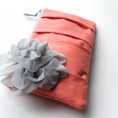Pleated Clutch Purse, Coral and Grey Flower