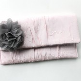 Wedding Clutch in Pale Pink with Grey Flower