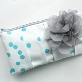Pleated Clutch Purse, Aqua Dots, Grey Flower