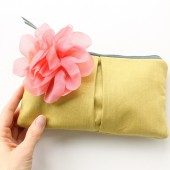 Pleated Clutch Purse, Coral and Gold