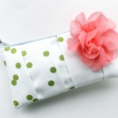 Clutch Purse, Green Dots and Coral Pink Flower