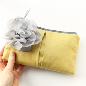 Clutch Purse, Gold and Grey, Flower Brooch