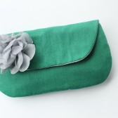 Wedding Clutch, Bridesmaid Gift, Emerald Green and Grey
