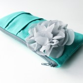 Pleated Clutch Purse, Aqua Teal and Gray