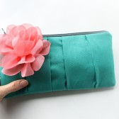 Clutch Purse, Turquoise and Coral