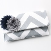 Chevron Clutch, Navy Grey with Flower Brooch
