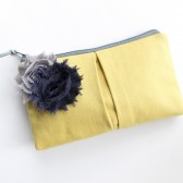 Clutch Purse, Gold and Navy Flower Brooch
