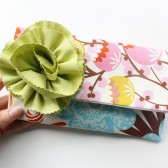 Fold Over Clutch in Spring Flower with Flower Brooch