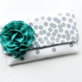 Clutch with Teal Flower, Grey Polka Dots