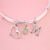 initial bangle with heart and birthstone