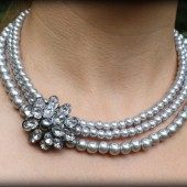 Diana Grey Pearl Bridesmaid Necklace with Brooch
