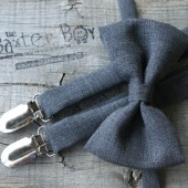 Dark grey polyester bow ties & suspenders