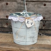 rustic flower girl basket . white wedding flower girl bucket / white lace basket . shabby chic flower girl basket