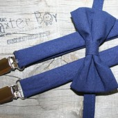 Solid navy bow ties & suspenders
