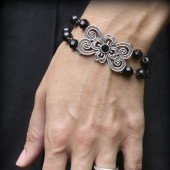 Mae Black Double Strand Bracelet with Antique Brooch