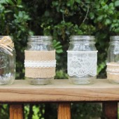 Burlap, Lace, and Pearl Mason Jars