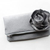 Fold Over Clutch in Faux Suede Steel