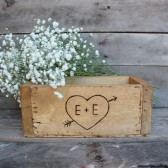 wooden engraved heart guest book box