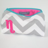 Hot Pink, Turquoise & Grey Personalized Cosmetic Bag