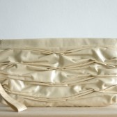 Pleated pearl vegan leather clutch wristlet Bridal