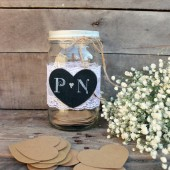 mason jar wedding guest book. rustic wedding guest card box