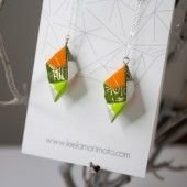 Handmade Origami Earrings, Modular - Green, Gray, White, Olive
