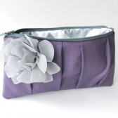 Pleated Clutch Purse, Purple and Gray