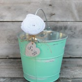 flower girl bucket / basket . small wedding basket. southern vintage bucket . personalize heart . shabby chic flower girl basket