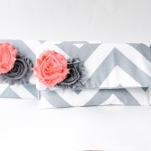 Clutch Purse, Chevron, Coral Peach and Grey, Flower Brooch