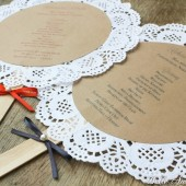 Doily Wedding Program Fans