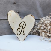 rustic heart cake topper . personalized cake topper on a stick . rustic country barn wedding table