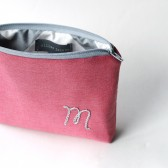 personalized Cosmetic Bag with Embroidered Initial