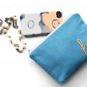 Personalized Clutch Bag with Embroidered Initial