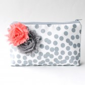 Cosmetic Bag Set, Bridesmaid Gift, Choose Colors, Grey Coral