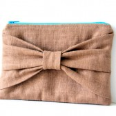 brown linen bow pouch