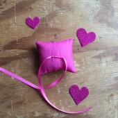 Pink ring-bearer pillow