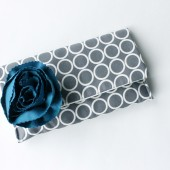 Clutch Purse, Grey and Blue, Flower Brooch
