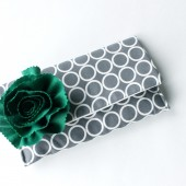 Bridal Clutch , Grey and Emerald