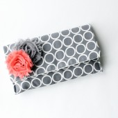Bridal Clutch , Grey and Coral
