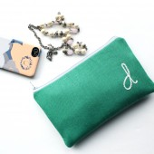 Monogram Clutch in Emerald Green