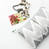 Pleated Clutch Purse, Gray Chevron