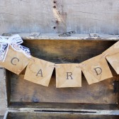 "rustic ""cards"" wedding banner"