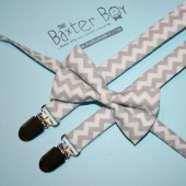 Grey chevron bow ties & suspenders
