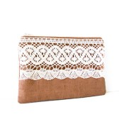 brown linen zipper pouch with cotton crochet trim
