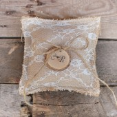 ringbearer pillow .personalized rustic wedding pillow . small lace burap ringbearer pillow