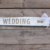 wedding arrow sign . rustic direction hanging signage